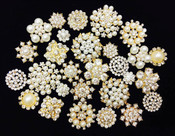 10 Mixed Lot Gold Flat Back Button Crystal Pearl Rhinestone Embellishment Button - Brooch Bouquet Wedding Jewelry Hair bows Cake Decoration -- by lovekitty