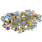 AB Lemon Yellow -- 4000 pcs Assorted 6 Sizes Crystal Glass Rhinestones Flatback High Quality hotfix Wholesale Nail Art