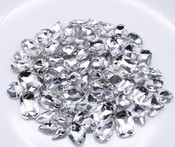 Clear --- 30 pcs Medium size Mixed lot Cut Back Crystal Glass Gems  ---- lovekittybling