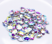 AB Clear  --- 30 pcs Medium size Mixed lot Cut Back Crystal Glass Gems  ---- lovekittybling