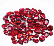 Red  --- 30 pcs Medium size Mixed lot Cut Back Crystal Glass Gems  ---- lovekittybling