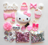 DIY 3D Hello Kitty Bling Resin Flat back Kawaii Cabochons Deco Kit Z244 -- lovekittybling