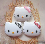 3 pcs Cute Japanese Kawaii Flat Back Resin Cabochons -- lovekitty