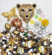 DIY 3D Golden Leopard Flat back Kawaii Cabochons Deco Kit / Set Z296
