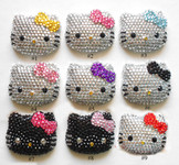 #3  Blue Bow --- 1 piece blinged out   Kitty face  Cute Japanese Kawaii Flat Back Resin Cabochons  -- lovekitty
