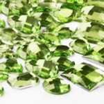 30 pcs Light Green Flat Back Mixed Sizes Gems-- lovekittybling