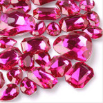 30 pcs Fuchsia Cut Back Mixed Sizes Gems-- lovekittybling