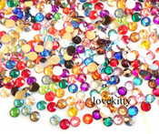 Mixed Colors --- 7mm 100 pcs  -- Flat Back Rhinestones Round 14 Cut Assorted Colors--- by lovekitty