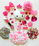 DIY 3D Hello Kitty Bling Resin Flat back Kawaii Cabochons Deco Kit Z49-- lovekittybling