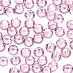 Light Pink --- 6mm 50pcs--- Rhinestones Round Flat back 14-facet ( High Quality ) --- lovekitty