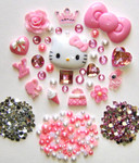 DIY 3D Hello Kitty Bling Resin Flat back Kawaii Cabochons Deco Kit Z20 --- lovekitty