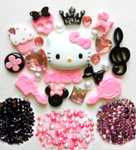 DIY 3D Hello Kitty Bling Resin Flat back Kawaii Cabochons Deco Kit Z209 --- www.lovekittybling.com