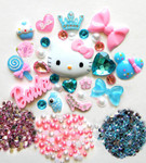 DIY 3D Hello Kitty Bling Resin Flat back Kawaii Cabochons Deco Kit Z169 --- www.lovekittybling.com