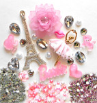 DIY 3D Eiffel Tower Bling Bling Resin Flat back Kawaii Cabochons Deco Kit Z252 --- www.lovekittybling.com