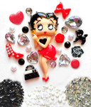 DIY Betty Boop Bling Bling Flatback Resin Cabochons Kawaii Deco Kit / Set Z205 --- lovekitty