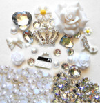 DIY 3D Rhienstone Crown Bling Bling Flatback Resin Cabochons Kawaii Deco Kit / Set Z159 --- lovekitty