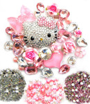 DIY 3D Blinged out Hello Kitty Resin Flat back Kawaii Cabochons Deco Kit / Set Z229 --- by lovekitty