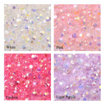 4mm --- 400 pcs --- White,pink,fuchsia,lavender  Mixed Colors AB Jelly Flat back Rhinestones  --- lovekitty