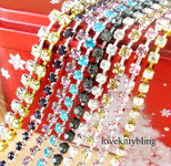 Silver Tone ---- Single Row Glass Rhinestone Chain Trim SS12 (Length: 50 cm) ---- by lovekittybling