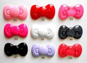 #3 Glitter Hot Pink ---- 1 piece Large Hello Kitty Bow Japanese Kawaii Flat Back Resin Cabochons  -- by lovekitty