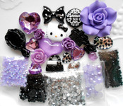 DIY 3D Hello Kitty Bling Resin Flat back Kawaii Cabochons Deco Kit Z286 -- love kitty bling