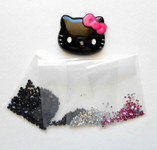 DIY Hot Pink Bow Black Face Hello Kitty Bling Bling Flatback Resin Cabochons Kawaii Deco Kit / Set  -- love kitty bling