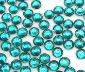 Teal  --- 6mm 50pcs --- Rhinestones Round Flat back 14-facet ( High Quality ) --- lovekitty