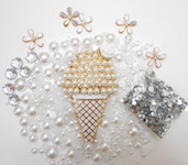 DIY Gold Tone Ice Cream Cone Bling Bling Cell Phone Case Resin Flat back Kawaii Cabochons Deco Kit / Set Z306 --- lovekitty