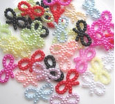 30 Pcs Mixed Colors Bow Flatback Pearl Cabochon-- Lovekitty