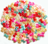 30 Pcs Mixed Colors Bow Shape Flatback Pearl Cabochon -- by lovekitty