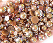 600 pieces AB Brown Mixed Sizes Flatback Pearl Cabochons -- by lovekitty
