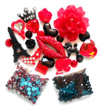 DIY 3D Rhinestones Sexy Red Bling Bling Flat back Kawaii Cabochons Deco Kit / Set Z314 -- lovekittybling