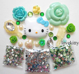 DIY 3D Hello Kitty Bling Resin Flat back Kawaii Cabochons Deco Kit Z343  --- lovekitty