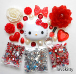DIY 3D Hello Kitty Bling Resin Flat back Kawaii Cabochons Deco Kit Z341 --- lovekitty