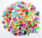 100 pcs ---  Sew-On Gems --- Mixed Colors & Shapes Flat Back Gems ( medium sizes 13mm -- 20mm  has thread holes ) ---- lovekittybling