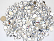 350 pc lot  ---  Sew-On Gems ---Clear Mixed Shapes Flat Back Gems ( Mixed sizes 3mm -- 40mm  has thread holes ) ---- lovekittybling