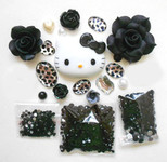 DIY 3D Hello Kitty Bling Resin Flat back Kawaii Cabochons Deco Kit Z338  ( not a finished product )--- lovekitty