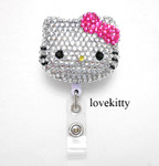 3D Blinged Out  Hello Kitty Rhinestone Badge Reel / Name Badges / ID Badge Holder ----  lovekitty