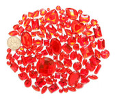 100 pcs --- Sew-On Gems -- Red -- Mixed Shapes Flat Back Gems ( Mixed Sizes has thread holes ) ---- love kitty bling