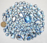 100 pcs --- Sew-On Gems -- Light Blue -- Mixed Shapes Flat Back Gems ( Mixed Sizes has thread holes ) ---- love kitty bling