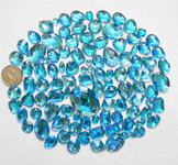 100 pcs --- Sew-On Gems -- Lake Blue -- Mixed Shapes Flat Back Gems ( Mixed Sizes has thread holes ) ---- love kitty bling