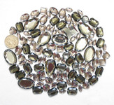 100 pcs --- Sew-On Gems -- Gray -- Mixed Shapes Flat Back Gems ( Mixed Sizes has thread holes ) ---- love kitty bling