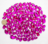 100 pcs --- Sew-On Gems -- Fuchsia -- Mixed Shapes Flat Back Gems ( Mixed Sizes has thread holes ) ---- love kitty bling