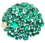 100 pcs --- Sew-On Gems -- Dark Green -- Mixed Shapes Flat Back Gems ( Mixed Sizes has thread holes ) ---- love kitty bling