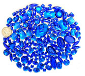 100 pcs --- Sew-On Gems -- Dark Blue -- Mixed Shapes Flat Back Gems ( Mixed Sizes has thread holes ) ---- love kitty bling