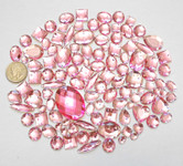 100 pcs --- Sew-On Gems -- Pink -- Mixed Shapes Flat Back Gems ( Mixed Sizes has thread holes ) ---- love kitty bling