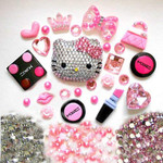 DIY 3D Blinged Out Hello Kitty Resin Flat back Kawaii Cabochons Deco Kit / Set Z349 --  lovekitty