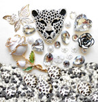 DIY 3D Silver Leopard Flat back Kawaii Cabochons Deco Kit / Set Z354 -- lovekittybling