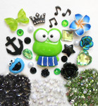 DIY 3D Frog Bling Resin Flat back Kawaii Cabochons Deco Kit Z355 -- lovekittybling