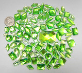100 pcs --- Sew-On Gems -- Light Green -- Mixed Shapes Flat Back Gems ( Mixed Sizes has thread holes ) ---- love kitty bling